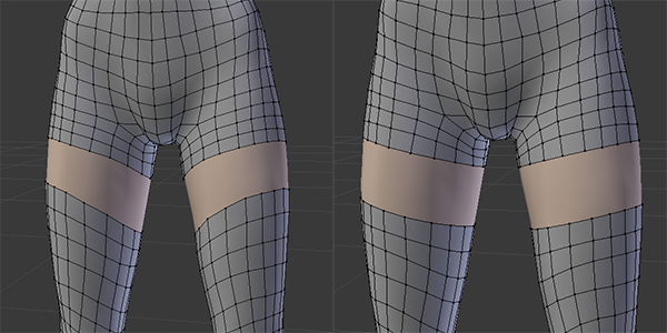Stocking and shorts before and after adjusting edges.