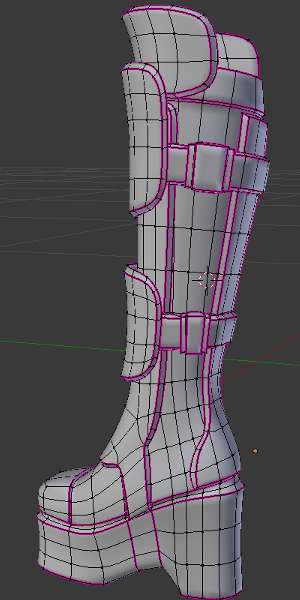 This boot uses layers of Separated and Extruded details. Room has been left at the ankle for it to bend, but the weights there will need adjustment.