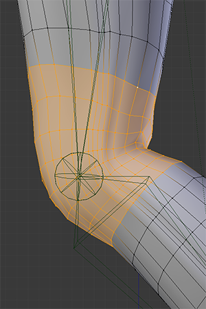 Since the knee joint's bones only rotate around one axis (allowing forward and backward motion), the vertices at the knee can only move in those same directions. You could not get them to move towards or away from the camera without expanding your rigging.