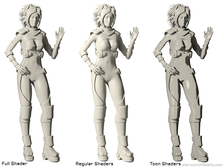 To make it easier to see comparisons, I've overridden the whole model with a single color and settings.