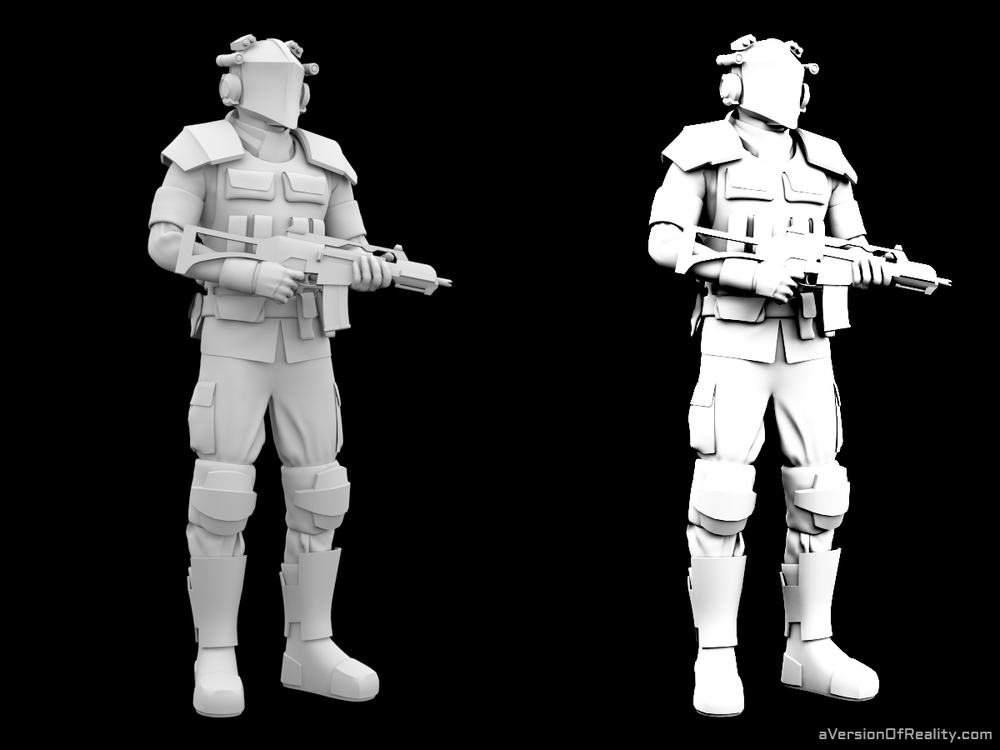 Ambient Occlusion with and without curve. Click for full size.