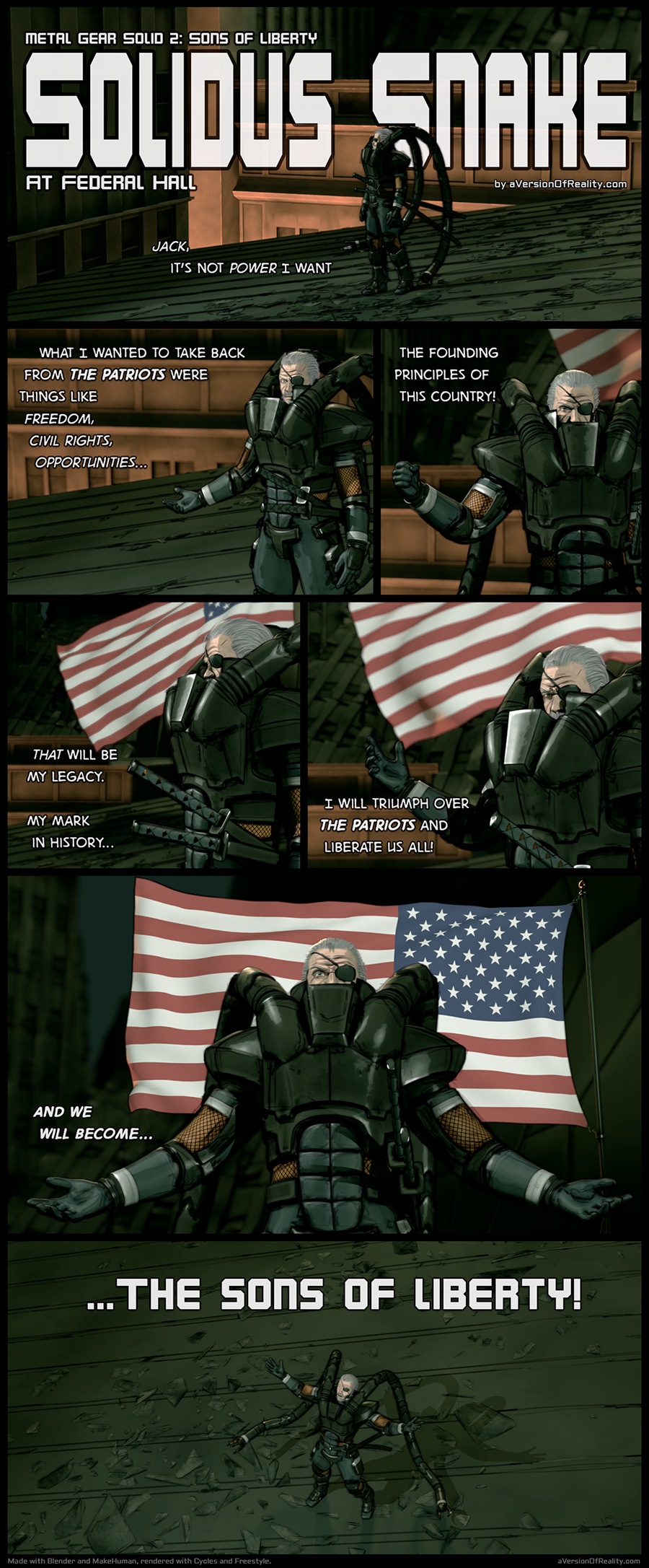 Solidus Snake from Metal Gear Solid 2, comic test. Click here for article.