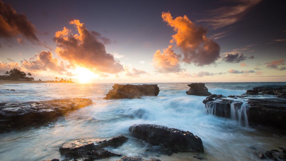Oahu Sandy Beach sunrise waves hope dawn