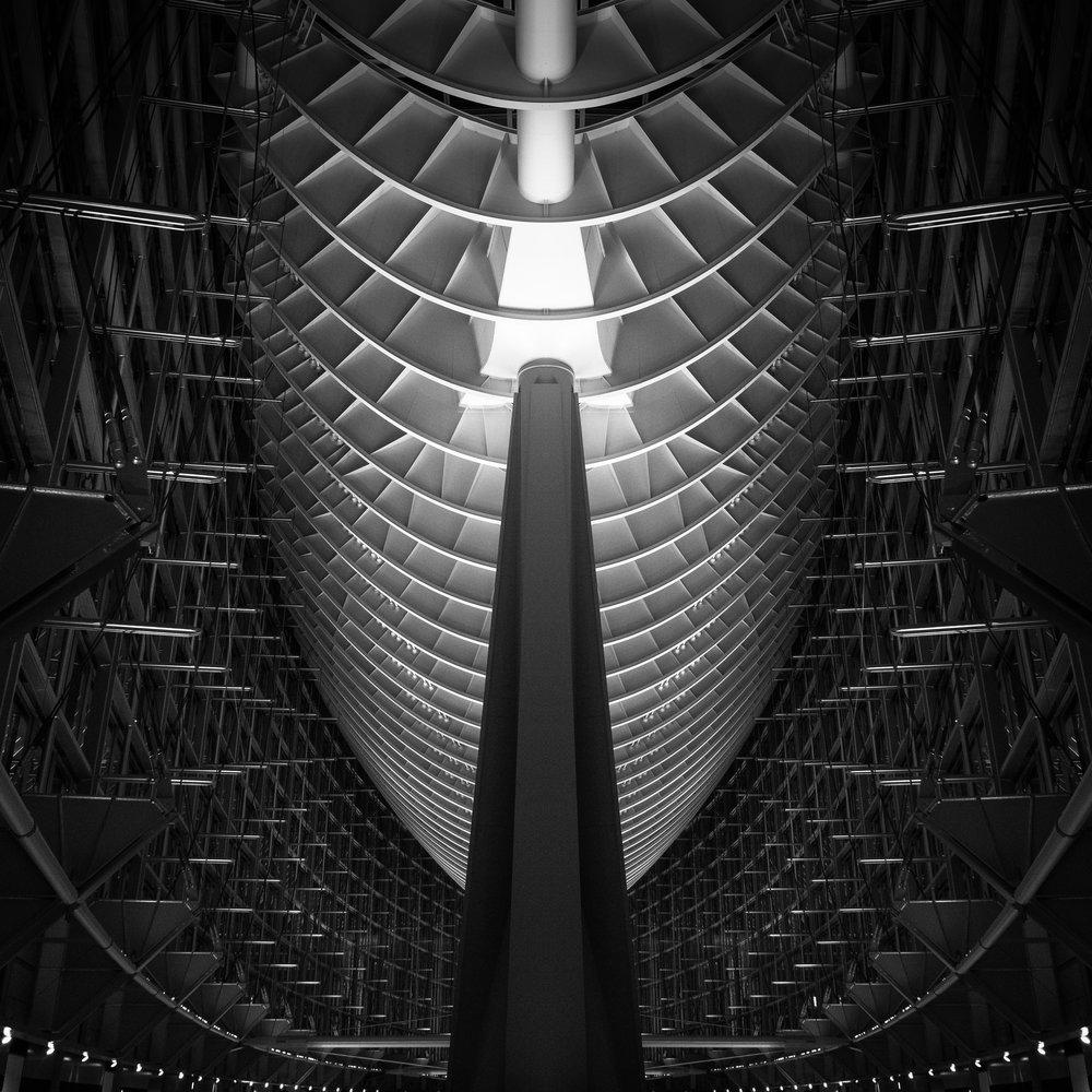 Tokyo International Forum black white atrium ribs underbelly