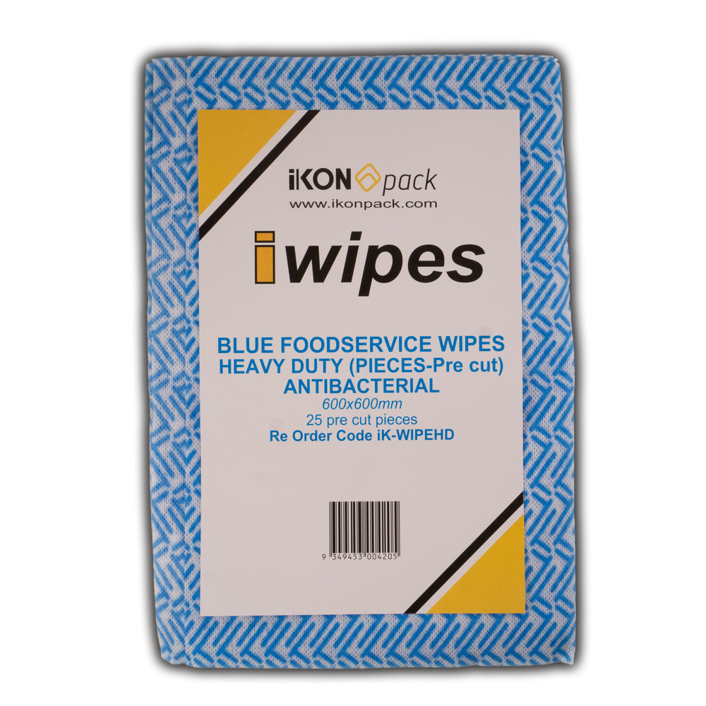 iK-WIPEHD BLUE FOODSERVICE WIPES HEAVY DUTY (PIECES-Pre cut)   600x600mm Pre Cut Pieces             25 per pack 100 per box