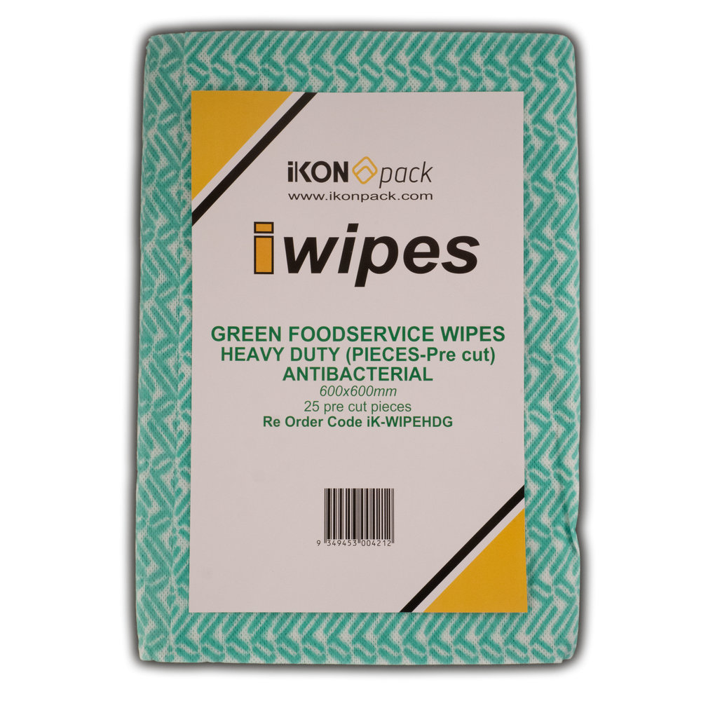 iK-WIPEHDG GREEN FOODSERVICE WIPES HEAVY DUTY (PIECES-Pre cut)   600x600mm Pre Cut Pieces             25 per pack 100 per box