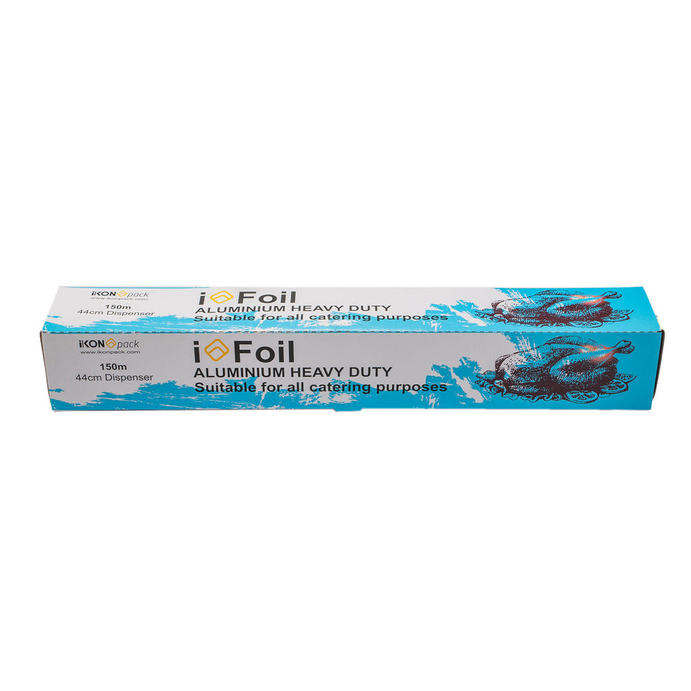 iK-FOILHD    44cm x 150m Commercial Grade foil  Applications include - lining trays, covering bulk goods, cooking in ovens  Suitable for Commercial Kitchens, Restaurants, Clubs and Hotels