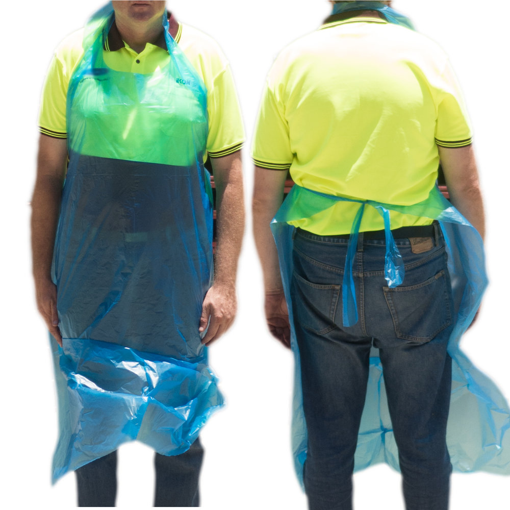 iK-APRHDB      Heavy Duty LDPE Apron Blue     960 x 1550mm  2x250 (500) per carton