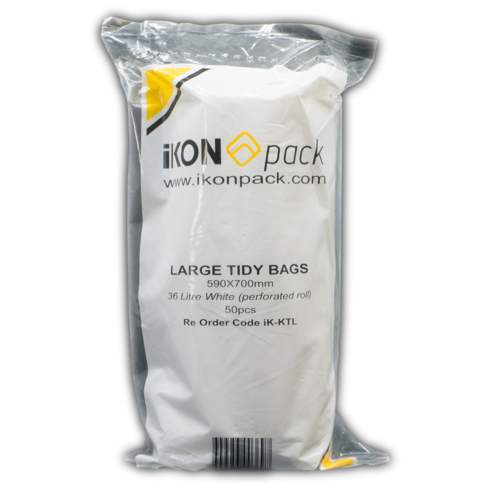 iK-KTL Large Tidy Bags   36 Litre White (perforated roll) 590 x 700mm  50 pc 20 rolls per carton
