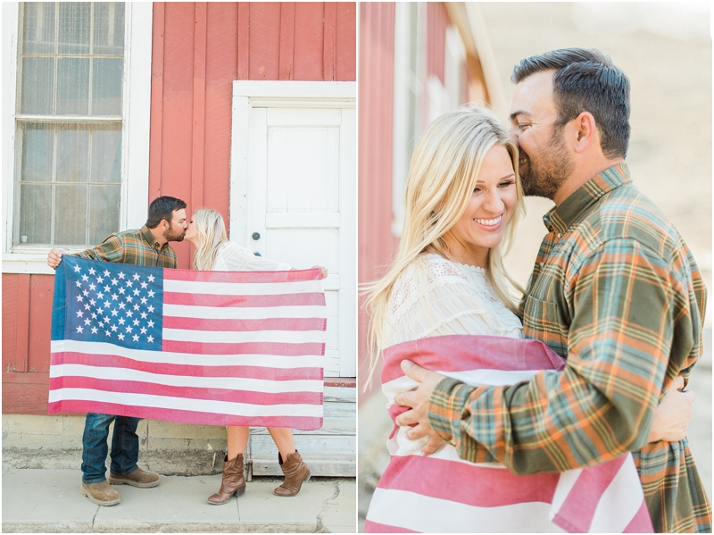 couple and american flag