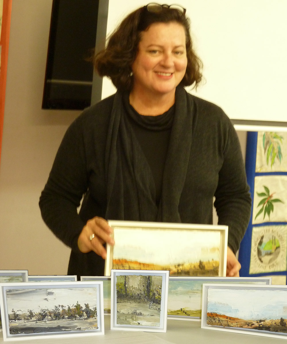 Tuesday 23 July 2013   Amanda Penrose Hart, a plein air painter, described her painting trip to the outback with other well-known artists.