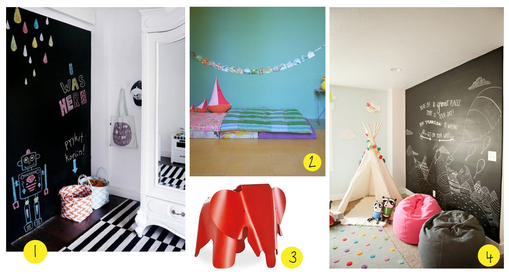 1  - black and white theme  2  - cuddle and reading corner (via  lescopirates.fr )  3  - red eames elephant by  vitra    4  - bean-bag and teepee tent (via  thebooandtheboy.com )