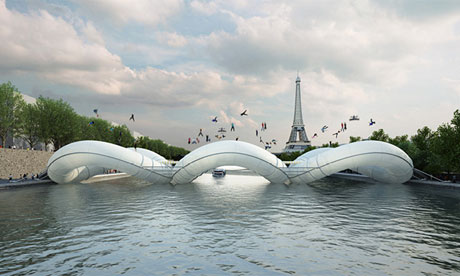 A floatable bridge in Paris (via The Guardian)