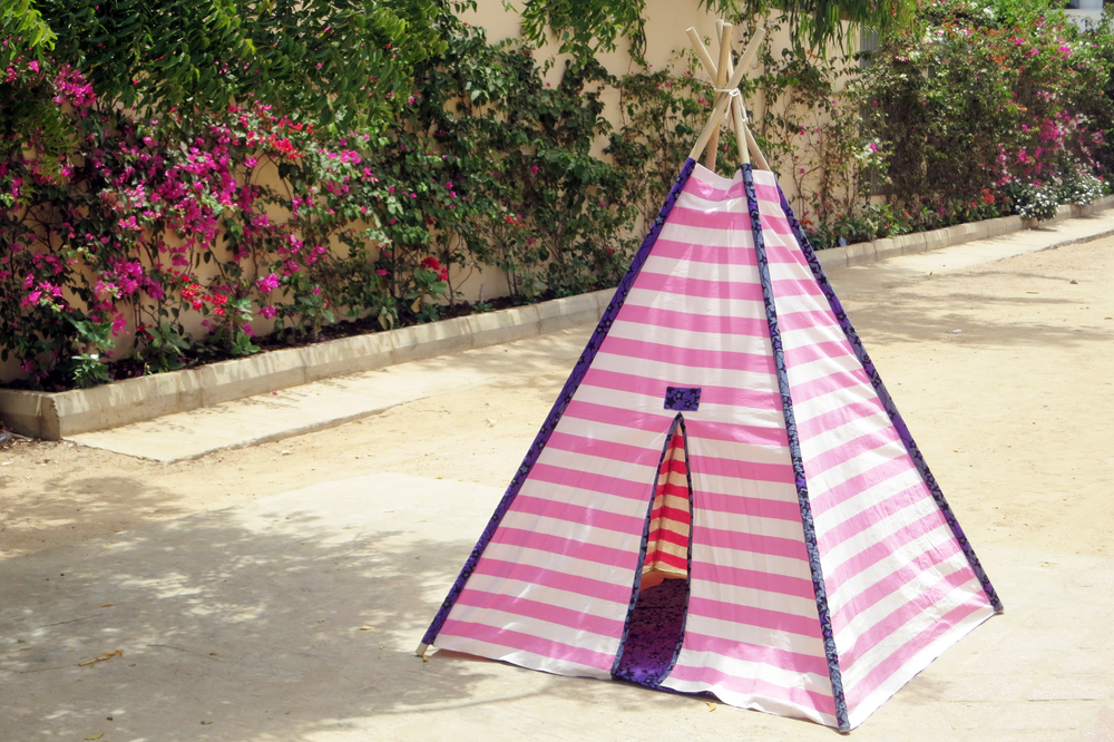 PINK STRIPES WITH PURPLE STAR - TEEPEE.