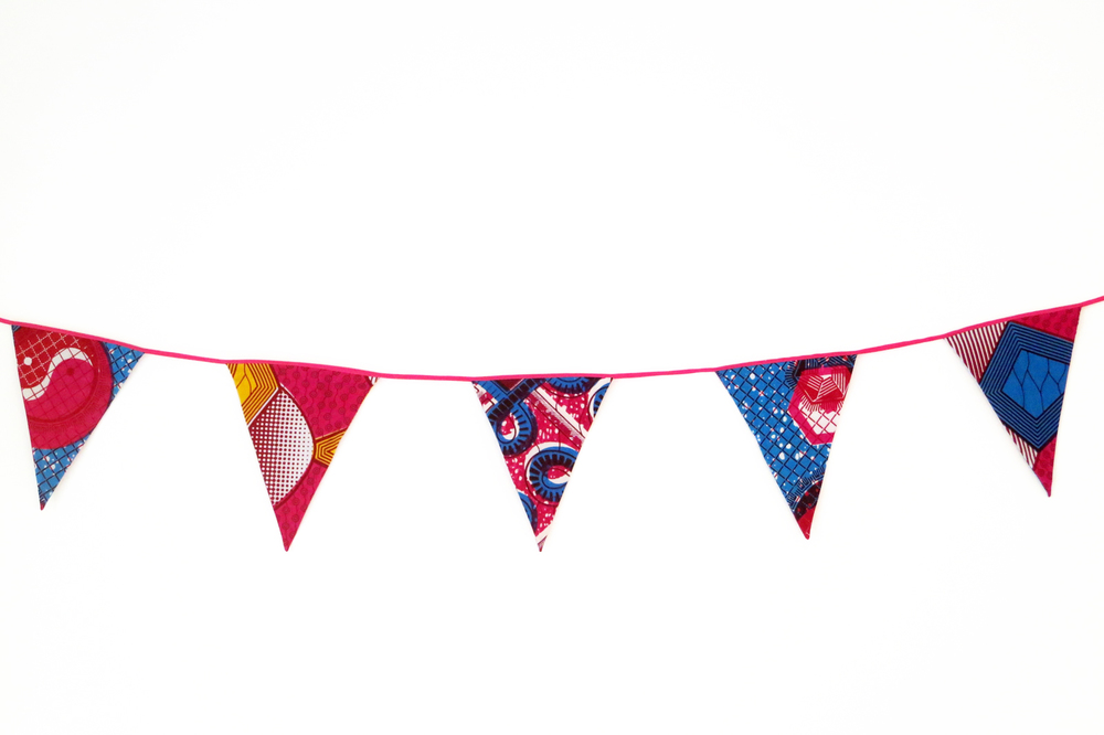 PINK AND TURQUOISE BUNTING.