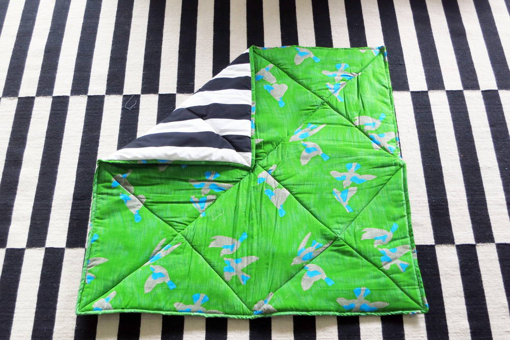 GREEN BIRDS / BLACK&WHITE STRIPES PLAYMAT.