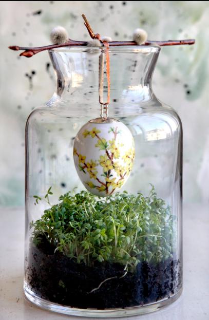 Enkel påskplantering i glasvas Foto: Pinterest