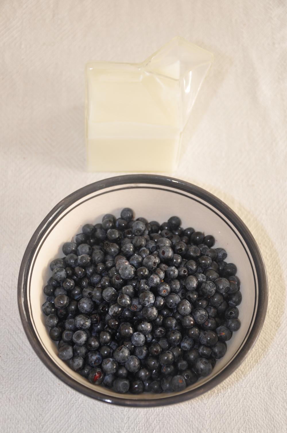 Blåbär och mjölk - skål från Tine K Home, kanna från PB Home    Foto:  Palatsliv