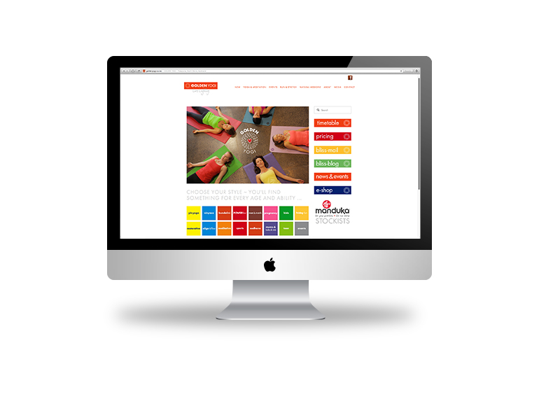 Website design built via squarespace for Golden Yogi Wellness Centre