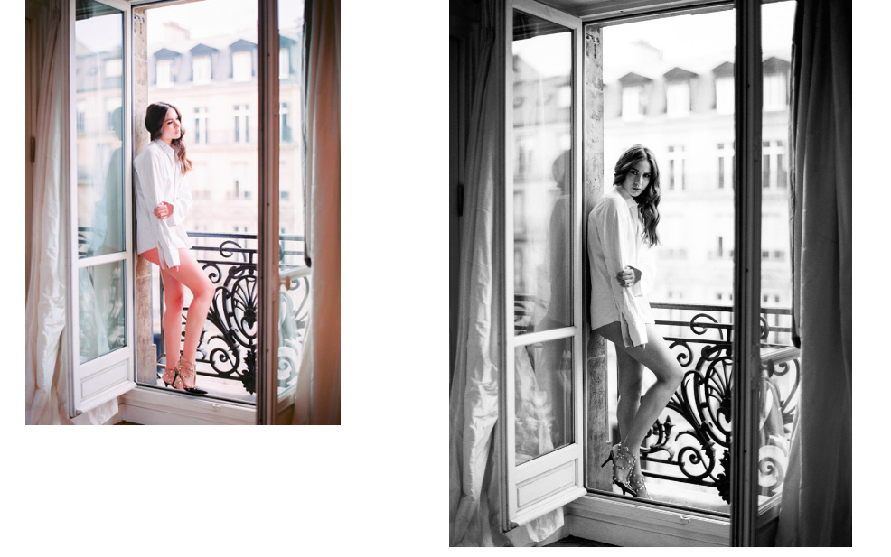 After featuring  Le Secret D'Audrey 's beautiful  photos from Positano  last week, we couldn't help but fall for a few of the photographer's editorial shots in Paris, shot with a delicate balance between fashion photography and cinematic documentary style -- peonies and pink bicycles, juliet balconies and cafés, here are a few of our favourite shots . . .