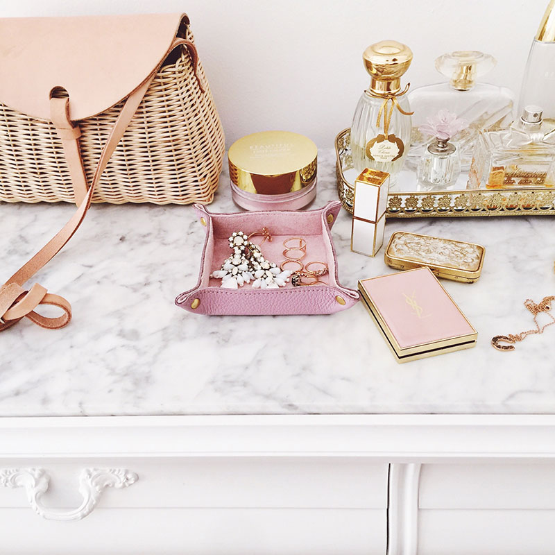 The Camberley Leather Trinket Tray is the perfect catchall for all of your treasures, from watches and rings to coins and loose change, or anything at all, really. Use it on a vanity, bookcase, or as an elegant desk accessory. + shop now