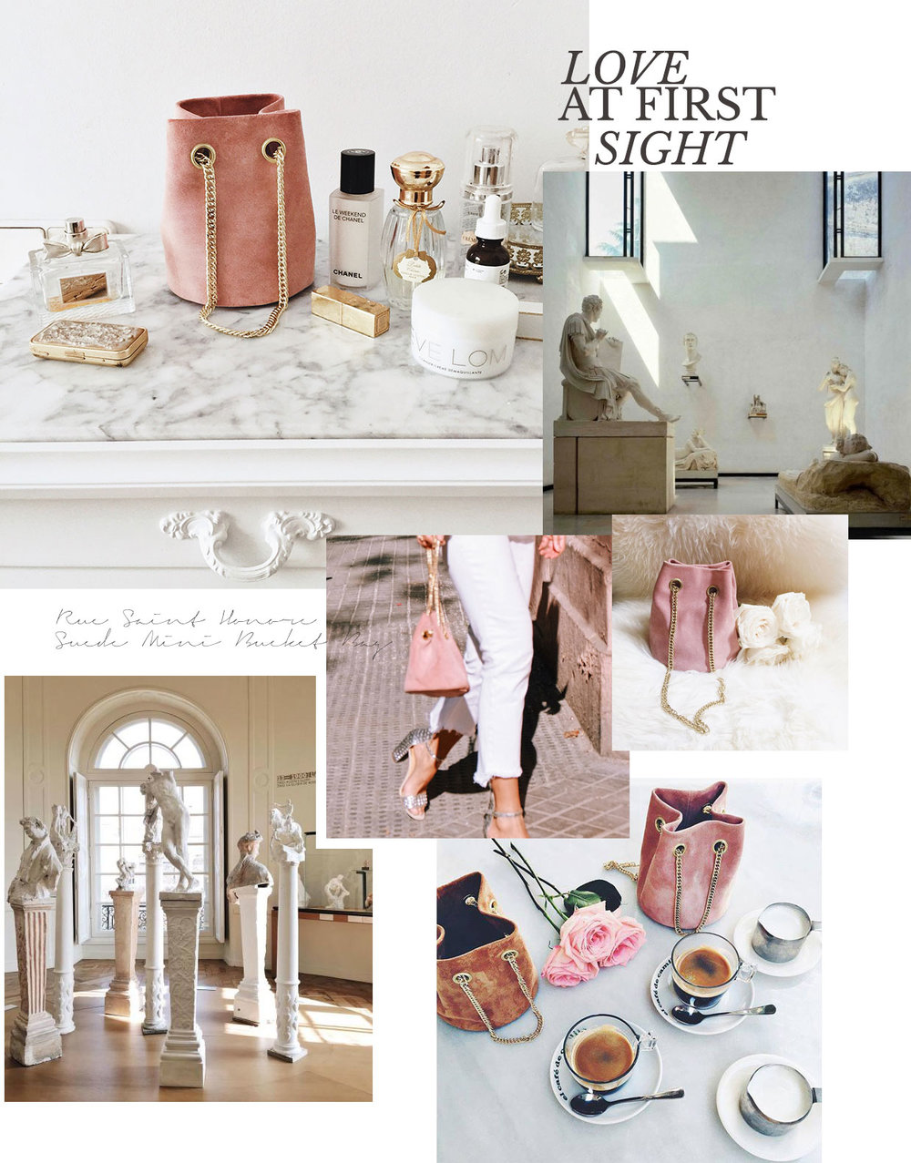 Such a lovely surprise to come upon this feature on Purewow listing our  Rue Saint-Honoré Suede Mini Bucket Bag in Dusky Pink  as one of the mini bucket bags everyone is buying now.  Read the feature here , and  shop the bag here .