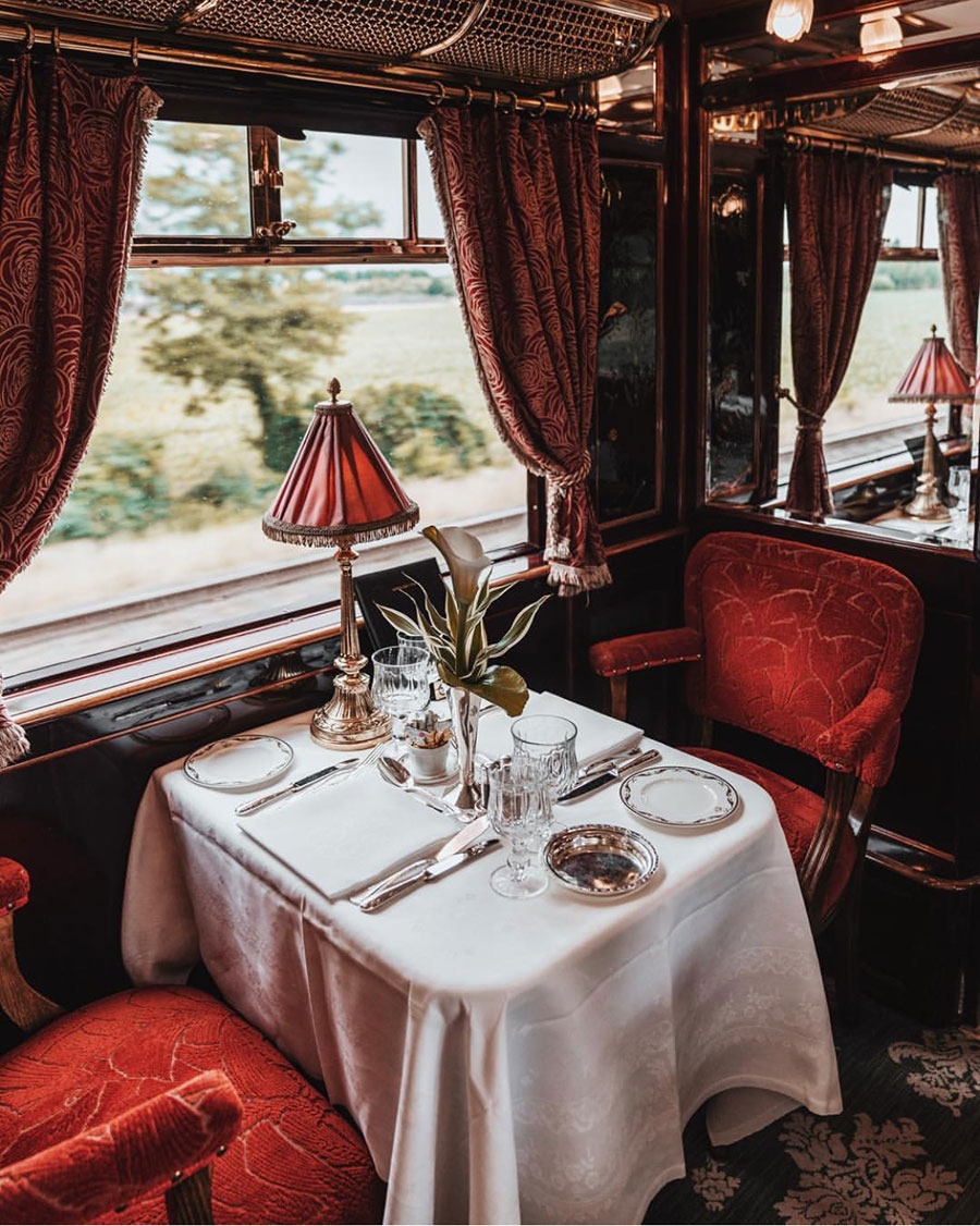 In 1977  Belmond 's founder, James B Sherwood, purchased two vintage train carriages at a Monte Carlo auction, after searching far and wide for stately rail relics in private gardens, museums and railway sidings. Cars from famous vintage trains, including Le Train Bleu and the Rome Express were also found and all were painstaking restored by a handful of artisans. By 1982, the carriages were ready to take guests on a classic journey between London and Venice, aboard the  Venice Simplon-Orient-Express , as it came to be known ...