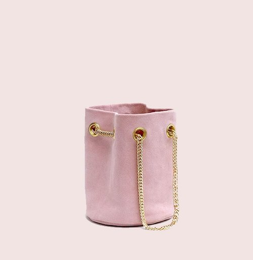 RUE SAINT-HONORE SUEDE MINI BUCKET BAG - Dusky Pink — BELGRAVE CRESCENT