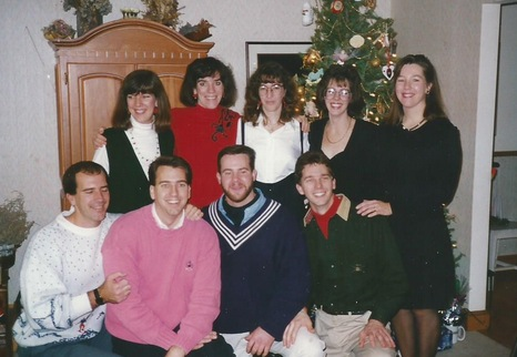 Kevin with his eight siblings: Lisa, Maribeth, Kathy,  Kelly, Maureen, Chris, Tim, Kevin and Mike