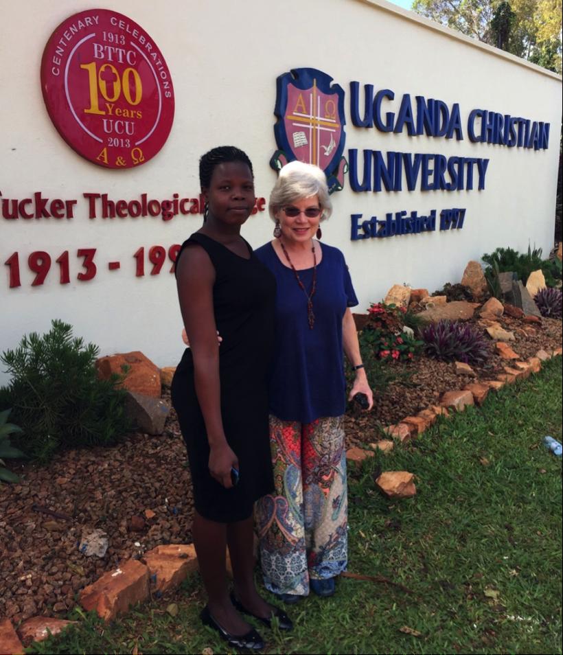 Anna Akado at Uganda Christian University, Kampala with Lois Stovall, krma-USPartners