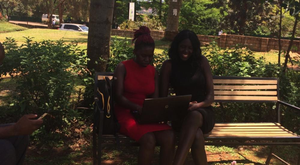 Sarah Adoo on left, with friend, at Makerere University, Kampala