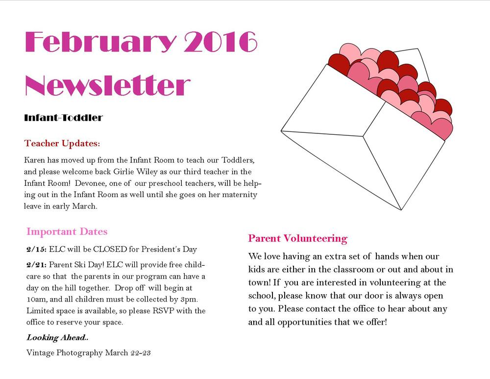 june newsletter for infant room