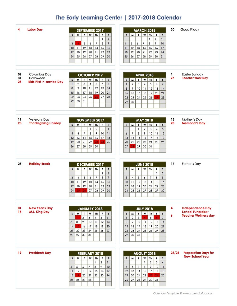 *Days in RED indicate days where the school is closed due to holidays or teacher work days.
