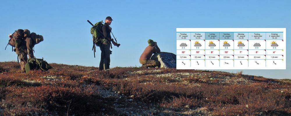 Årets jaktstart har vært usedvanlig varm, men om noen dager snur vinden på nord. Foto/sammenstilling: A. Nyaas