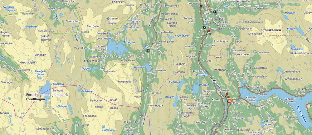Med sperregjerdet på plass er det berettiget håp om å sette ei effektiv sperre for tamreinovergang østfra og inn i Forollhogna-området. Kart: Finn.no