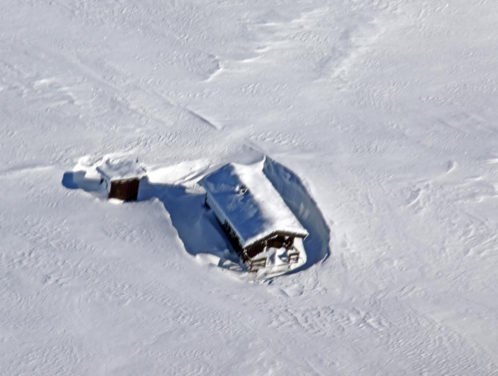 Sør for fylkesgrensa, som her på Åslifjellet i Dalsbygda, var det snø nok og meget gunstige sporingsforhold (lett å oppdage sporslepene fra småflyet). Foto: A. Nyaas