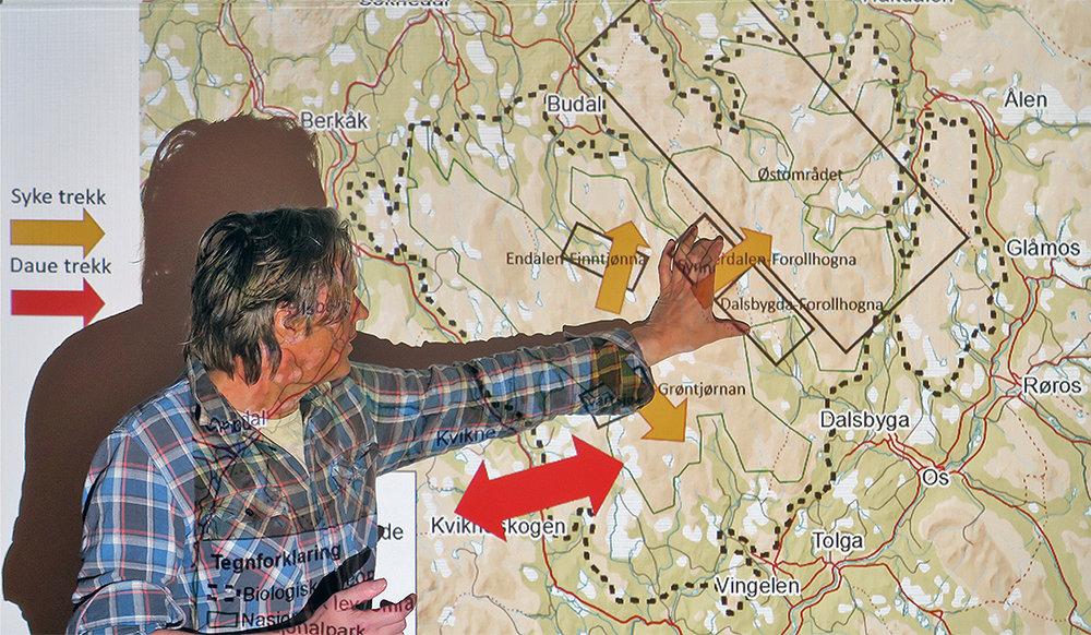 """Prosjektleder Vegard Gundersen (NINA Lillehammer) har ledet prosjektet """"Ferdsel og bruk av Forollhogna-området"""" siden starten i 2013. I løpet av april kommer sluttrapporten. Foto: A. Nyaas"""