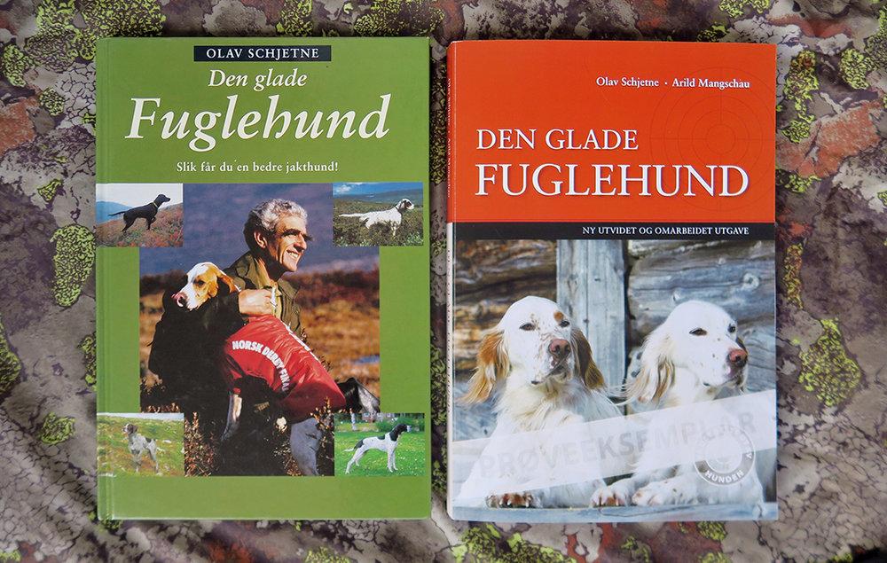"""Olav Schjetnes bok """"Den glade Fuglehund"""" fra 1992 (til venstre) regnes som en klassiker. Boka ble trykket i 18 000 eksemplarer og ble raskt utsolgt. I høst kommer en ny, oppdatert og utvidet utgave av boka. Foto: A. Nyaas"""