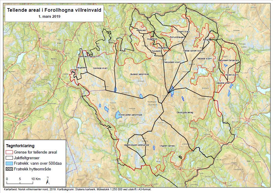 Nytt tellende areal er nå godkjent av Villreinnemnda for Forollhogna.    Last ned kartet over som pdf-fil.