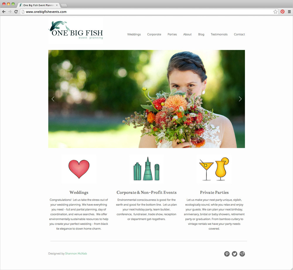 One Big Fish Events website homepage by Shannon McNab