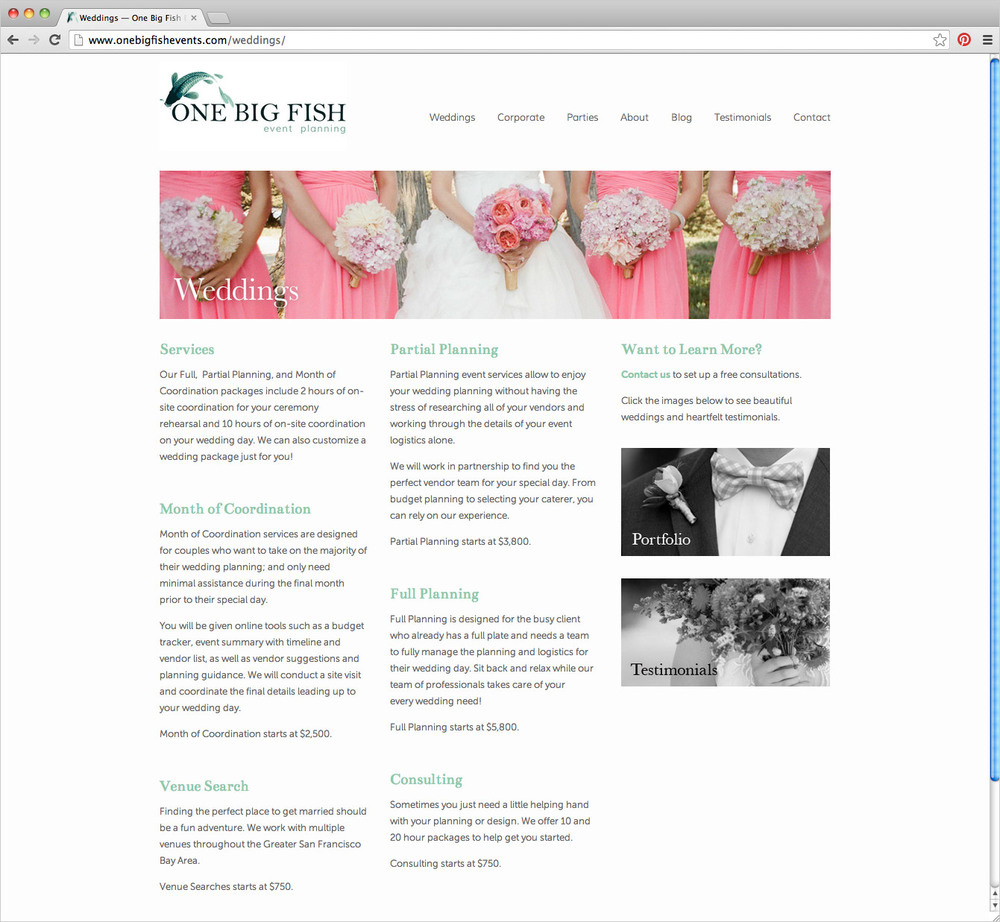 One Big Fish Events website wedding services page by Shannon McNab