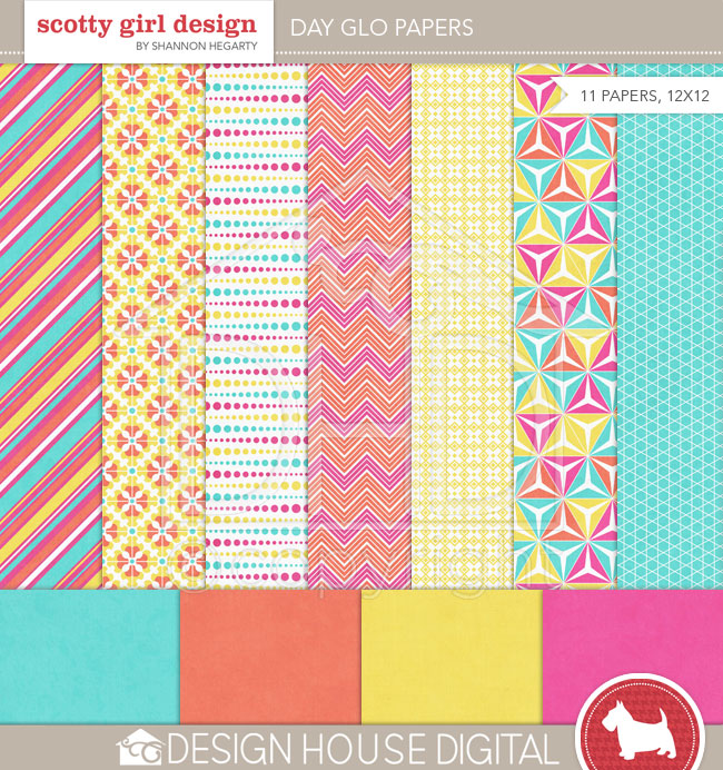 Day Glo Papers: A favorite digi paper packs from the early days of my scrapbook career.