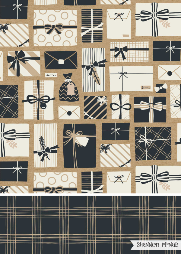 Brown Paper Packages surface pattern design | ©2016 Shannon McNab