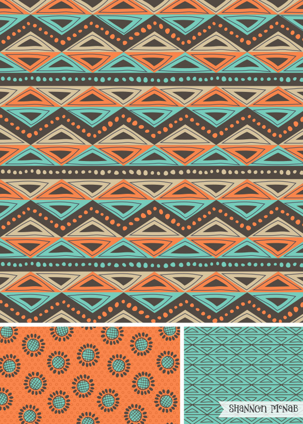 Tribal Triangles surface pattern design | ©2016 Shannon McNab
