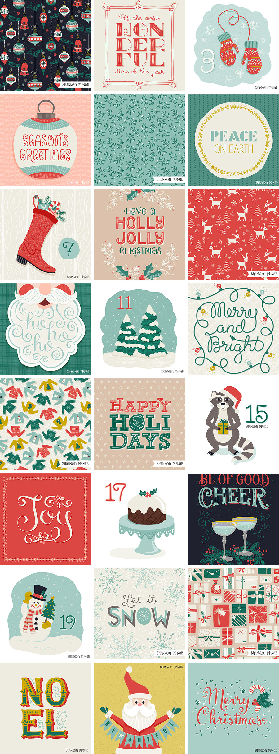 2016 Christmas Art Countdown Advent Challenge |  ©2016 Shannon McNab