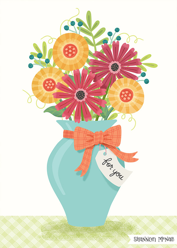 Flowers for You Greeting Card Illustration | ©2017 Shannon McNab