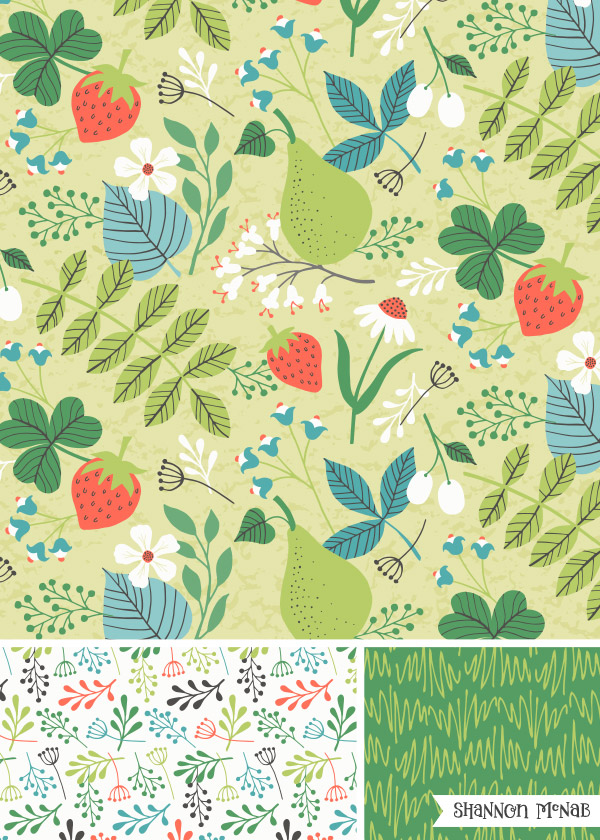 Spring Strawberries Pattern Collection| Copyright ©2017 Shannon McNab