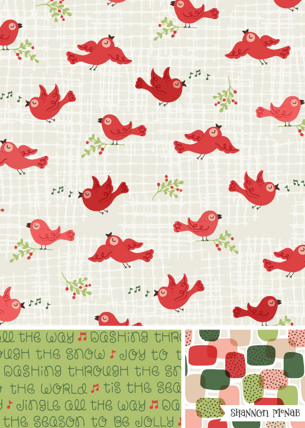 Holiday Songbird Pattern Collection | Copyright ©2017 Shannon McNab