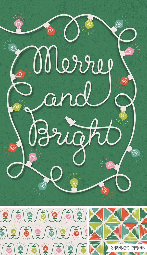 Merry & Bright hand lettered typography  |   ©2016 Shannon McNab