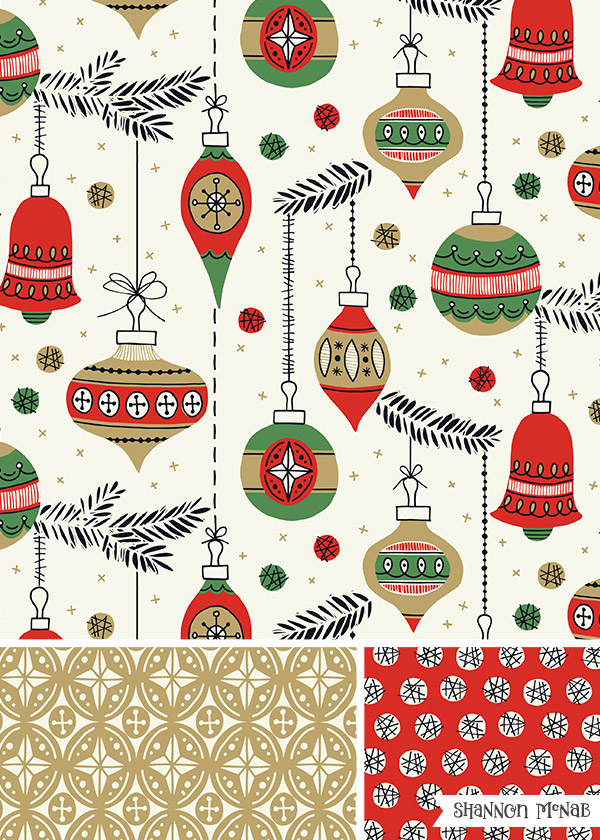 Christmas Baubles surface pattern collection | Copyright ©2016 Shannon McNab